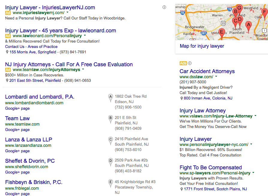 lawyers on Google Adwords