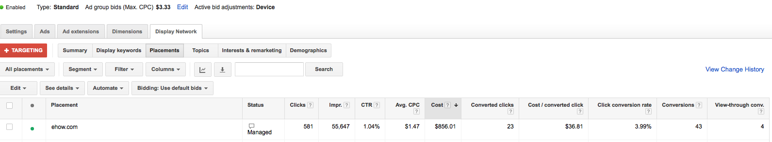 placement on adwords display network