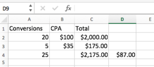 Weighted Conversions Excel